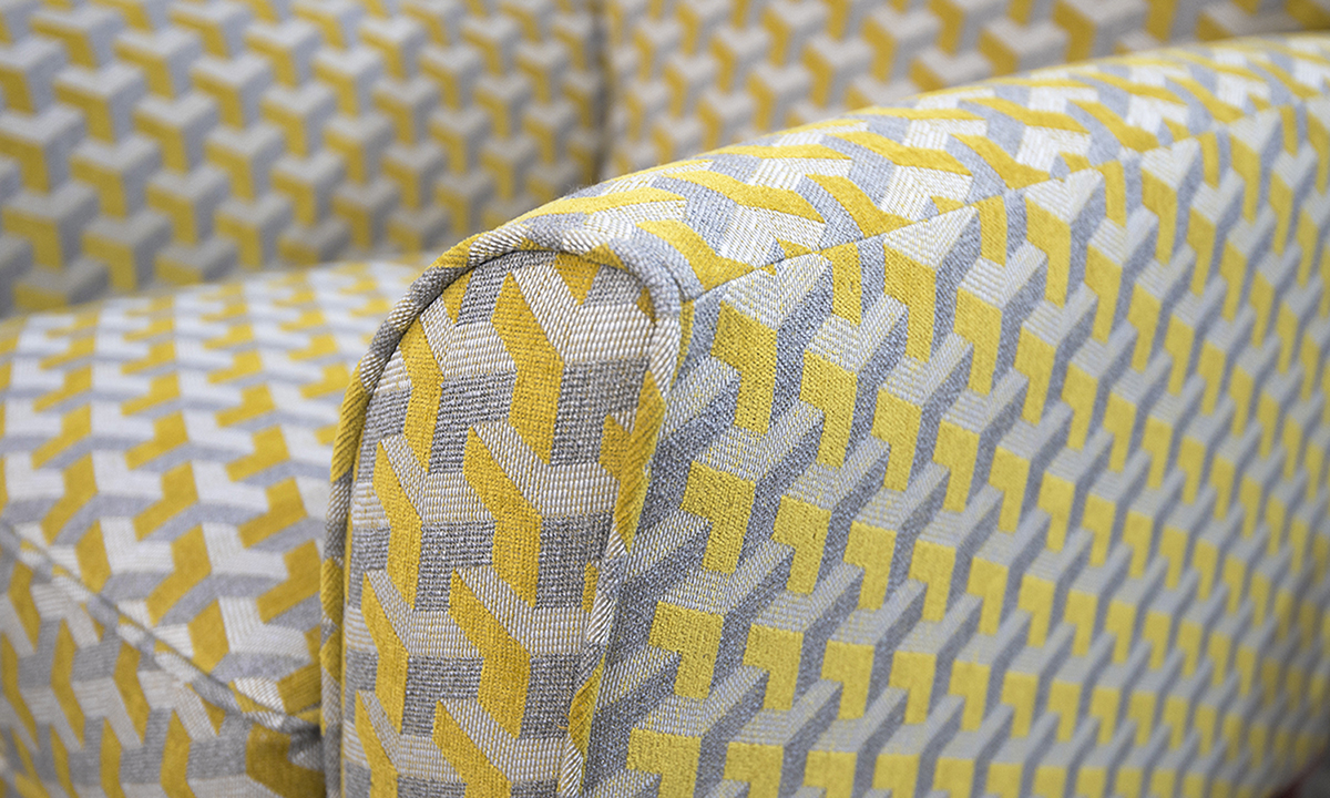 Dylan Chair Arm Detail Levonne Mustard Silver Collection of Fabrics