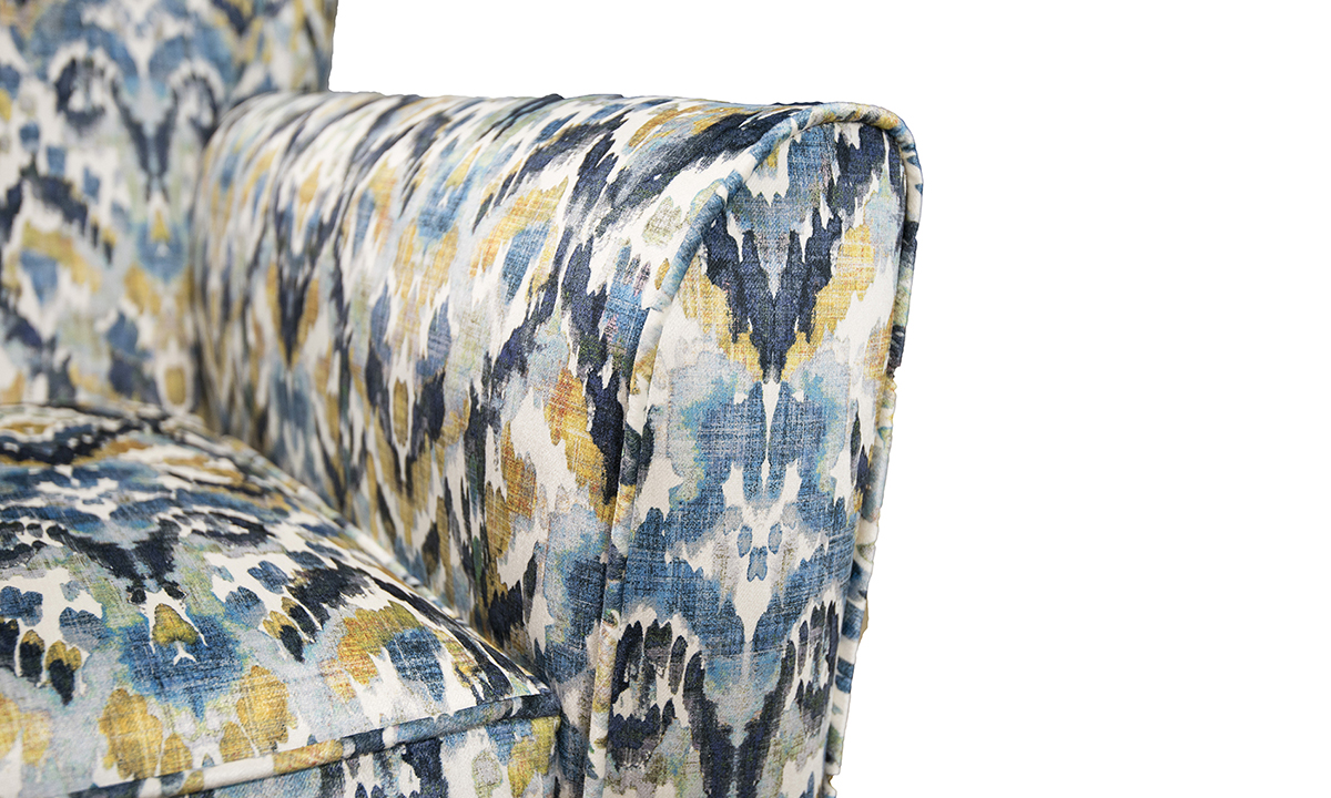 Dylan Chair Arm detail in Monet Winter Platinum Collection-Fabrics