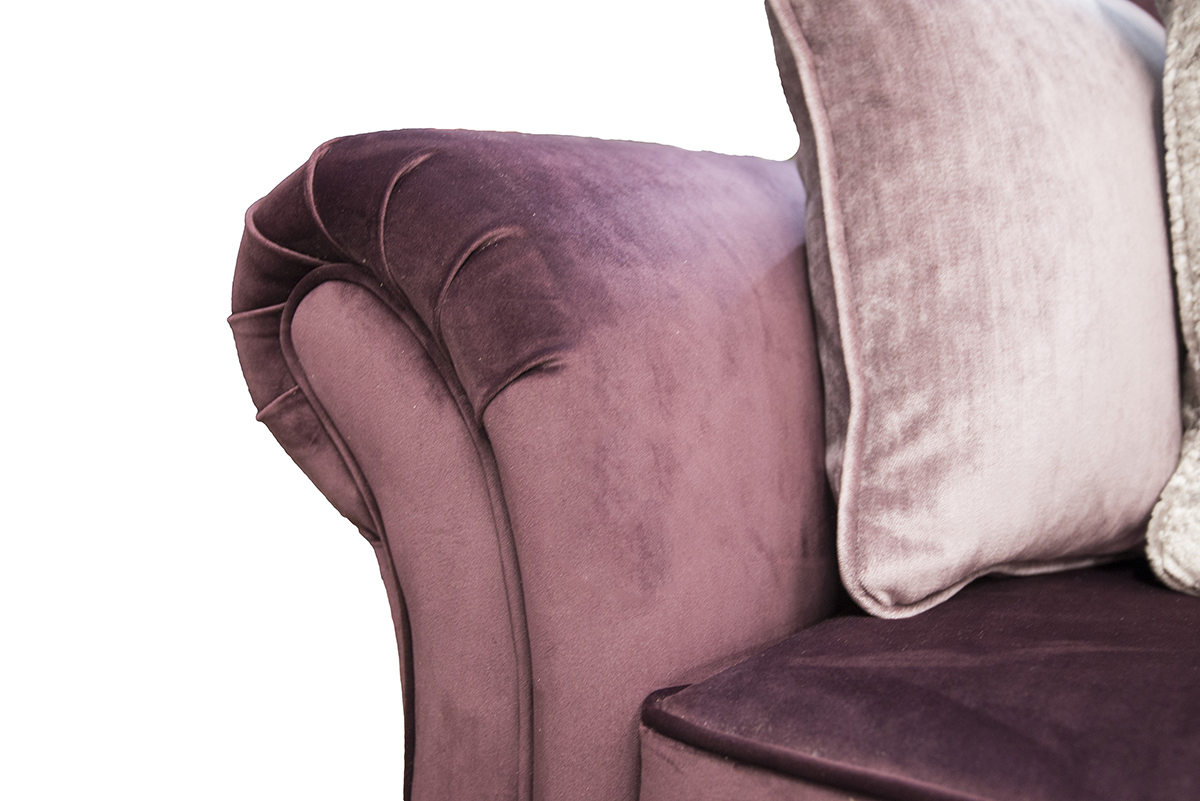 Elton Small Sofa arm detail in Luxor Aubergine-Silver-Collection-Fabric