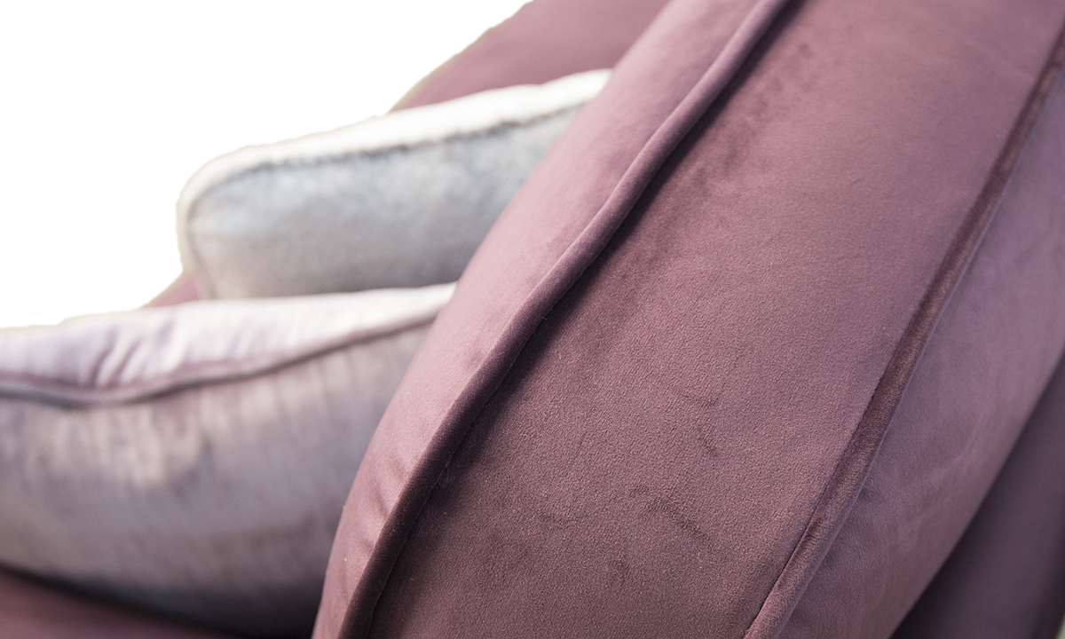 Elton Small Sofa back cushion detail in Luxor Aubergine Silver Collection Fabric