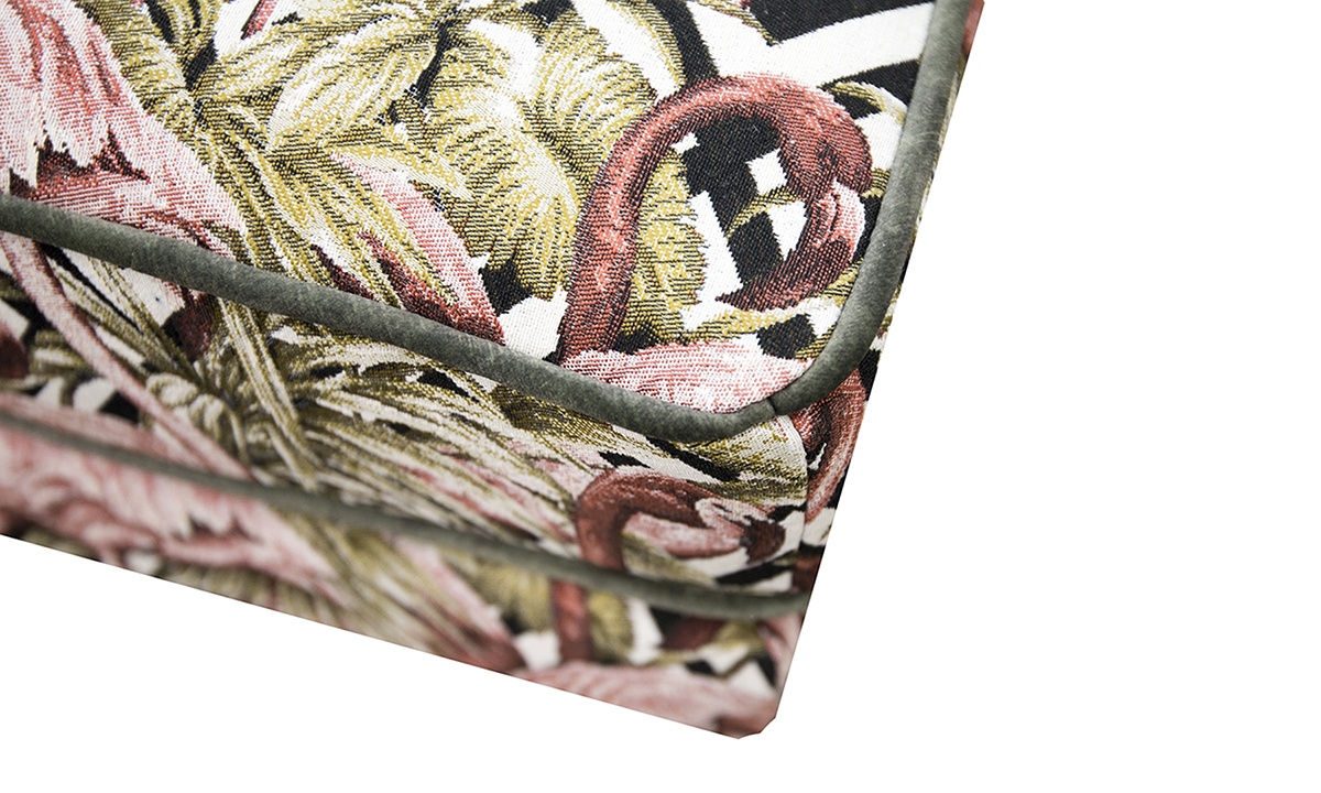 Alex Footstool detail in Flamingo Brick Gold Collection of Fabrics