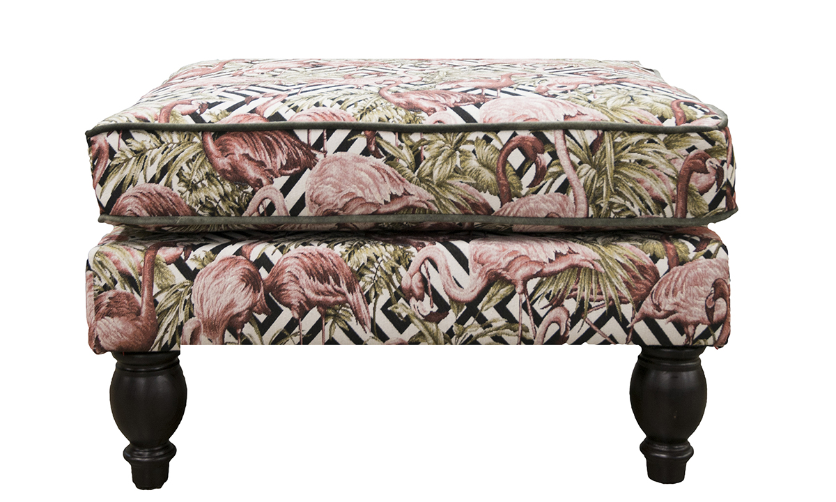 Alex Footstool in Flamingo Brick Gold Collection of Fabrics