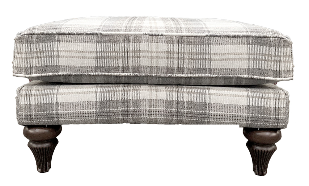Elton Footstool  in Aviemore Plaid Linen  Silver Collection  Fabric