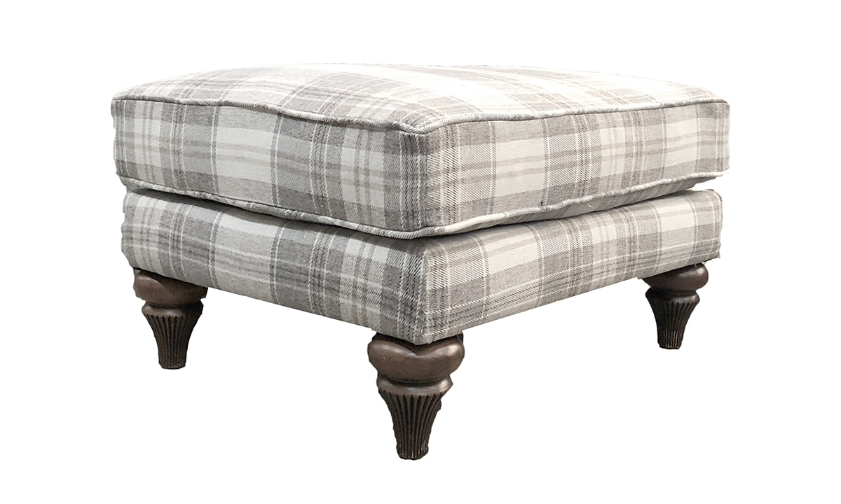 Elton Footstool in Aviemore Plaid Linen, Silver Collection Fabric