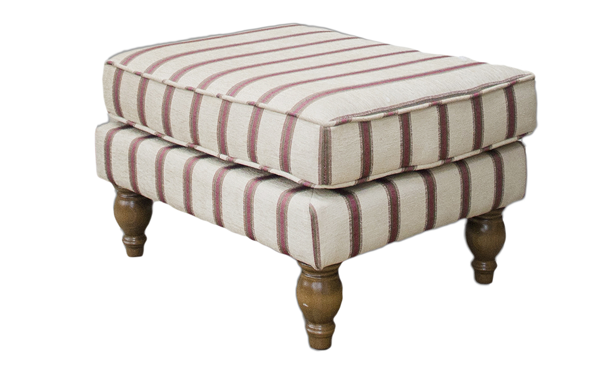 Elton Footstool Side in Sheldon Stripe (Discontinued Fabric)