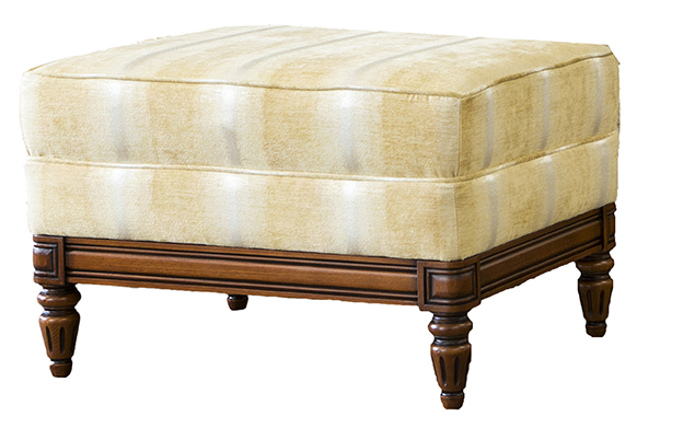 Gandon Footstool  in Tolstoy Straw Platinum Collection Fabric