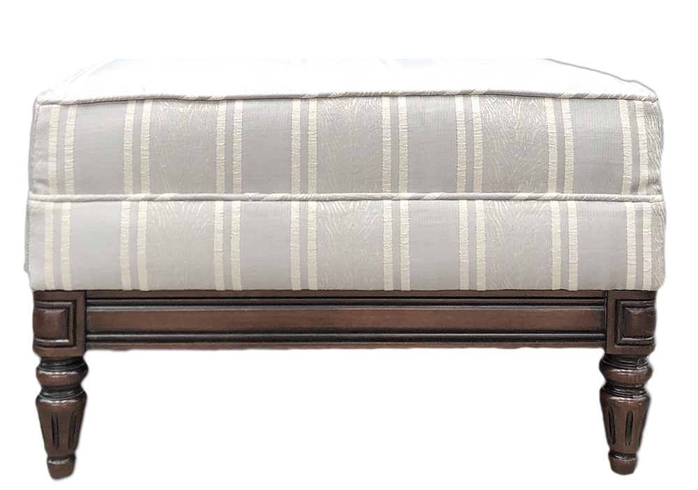 Gandon Footstool  Side in Medici Stripe 56000 Silver Gold Collection Fabric