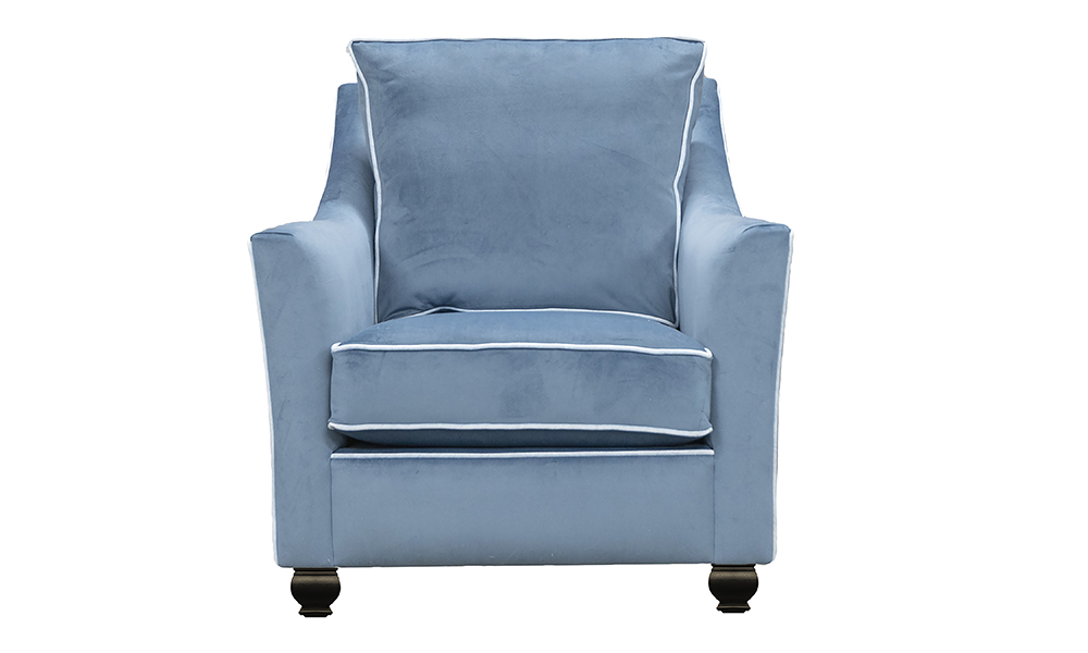 Grenoble Chair in Warwick Plush Airforce, Silver Collection Fabric