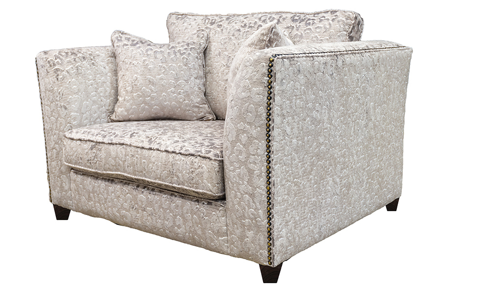Granada Love Seat Sofa in Cloud Abstract, Platinum Collection Fabric