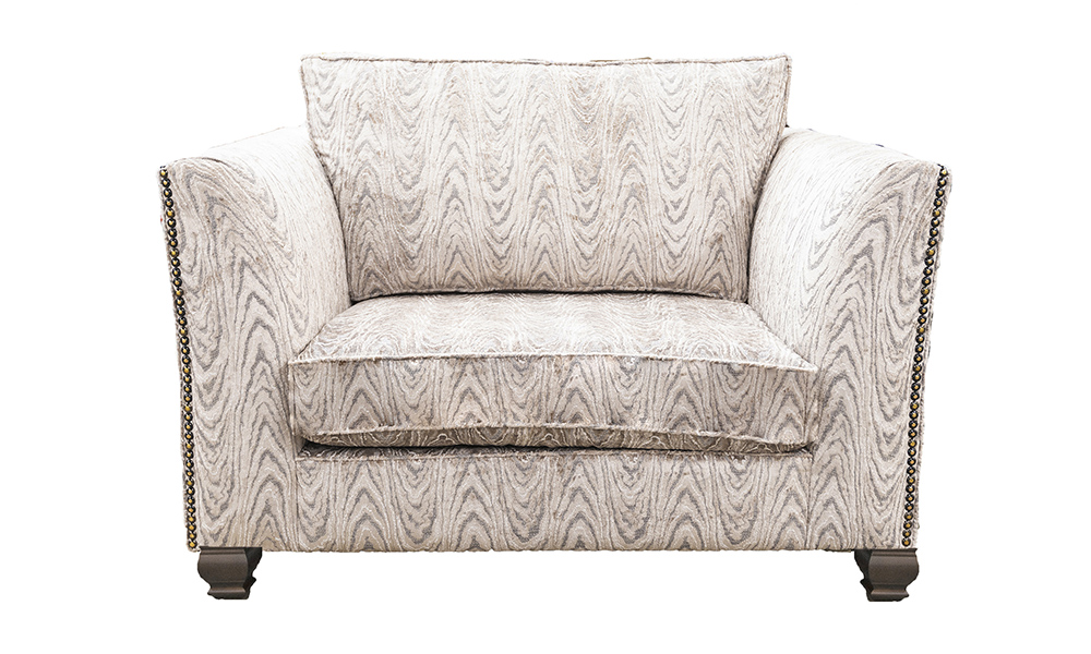 Granada Love Seat Sofa in Monaco Geometric Taupe, Platinum Collection Fabric