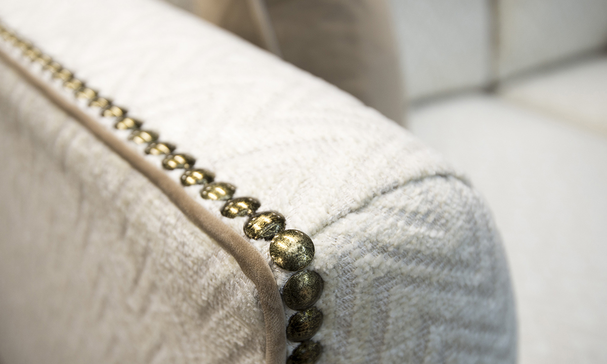 Arm Detail in Piper Cream, Contrast Piped in Luxor Tobacco, Silver Collection Fabric