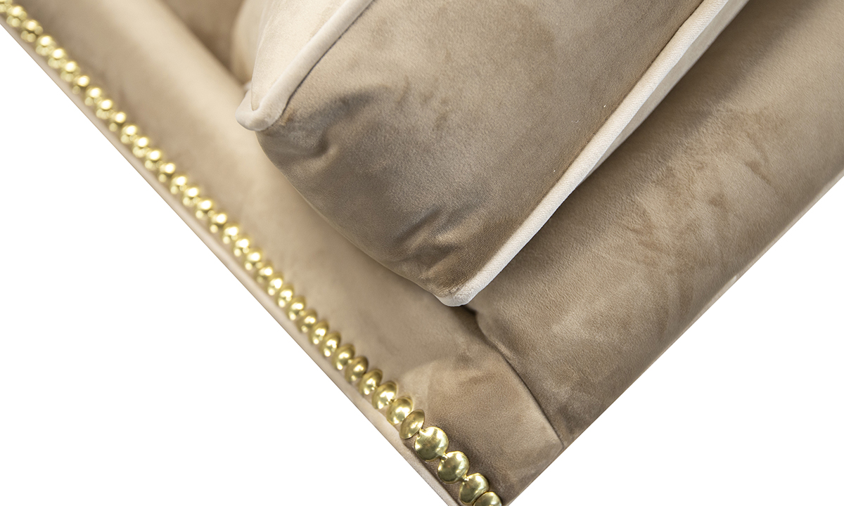 Back Cushion Detail in Luxor Tobacco, Silver Collection fabric