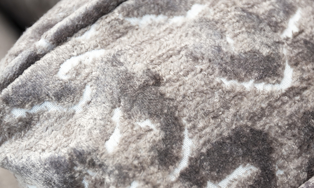 Granada Love Seat Sofa Close Up in Cloud Abstract, Platinum Collection Fabric