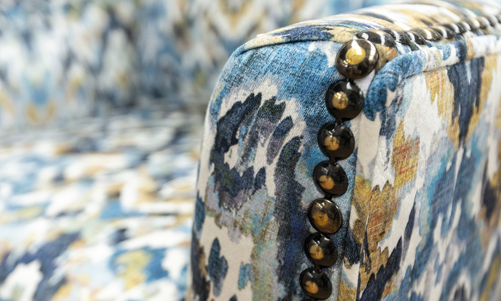 Grenoble Arm Detail in Monet Winter, Platinum Collection Fabric
