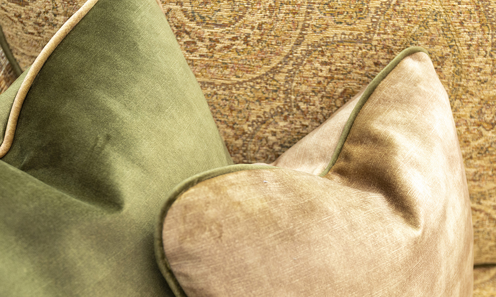 Scatter Cushion in Lovely Moss and Lovely Burnish, Gold Collection Fabric