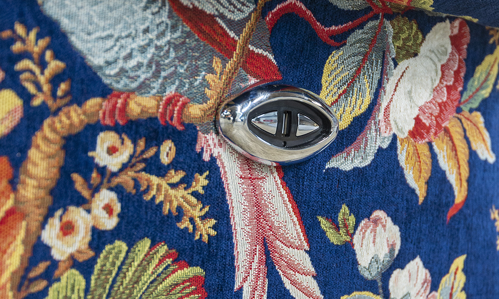 Greville Button Close Up in Elvren Navy, Platinum Collection Fabric
