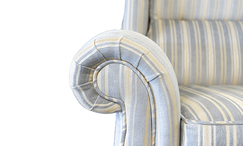 Greville Recliner Arm Detail in Tolstoy Stripe Ocean, Platinium Collection Fabric