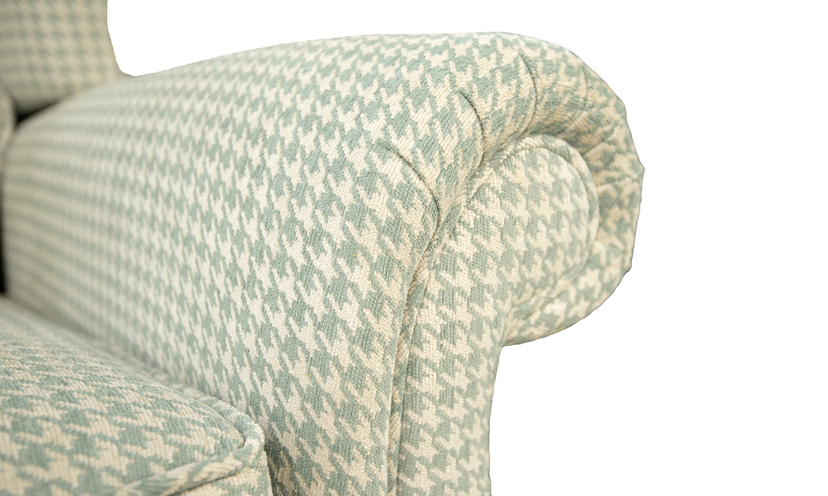 Greville Recliner detail in Poppy Aqua Silver Collection of Fabrics