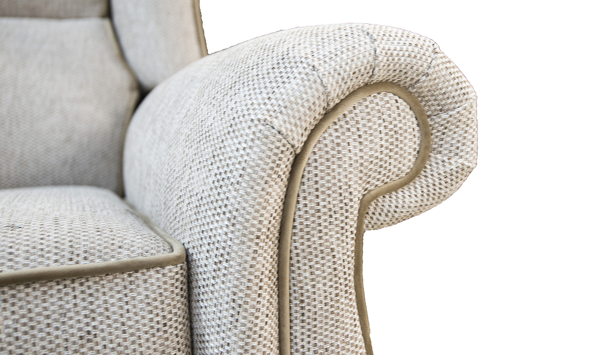 Greville-Recliner-Chair-arm-detail-in-Bravo-Sand-Silver-Collection-of-Fbarics