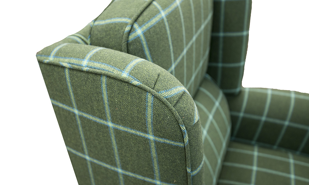Greville Recliner Chair inFoxford Amazon Bay Sea Windowpane Platinum Collection Fabric
