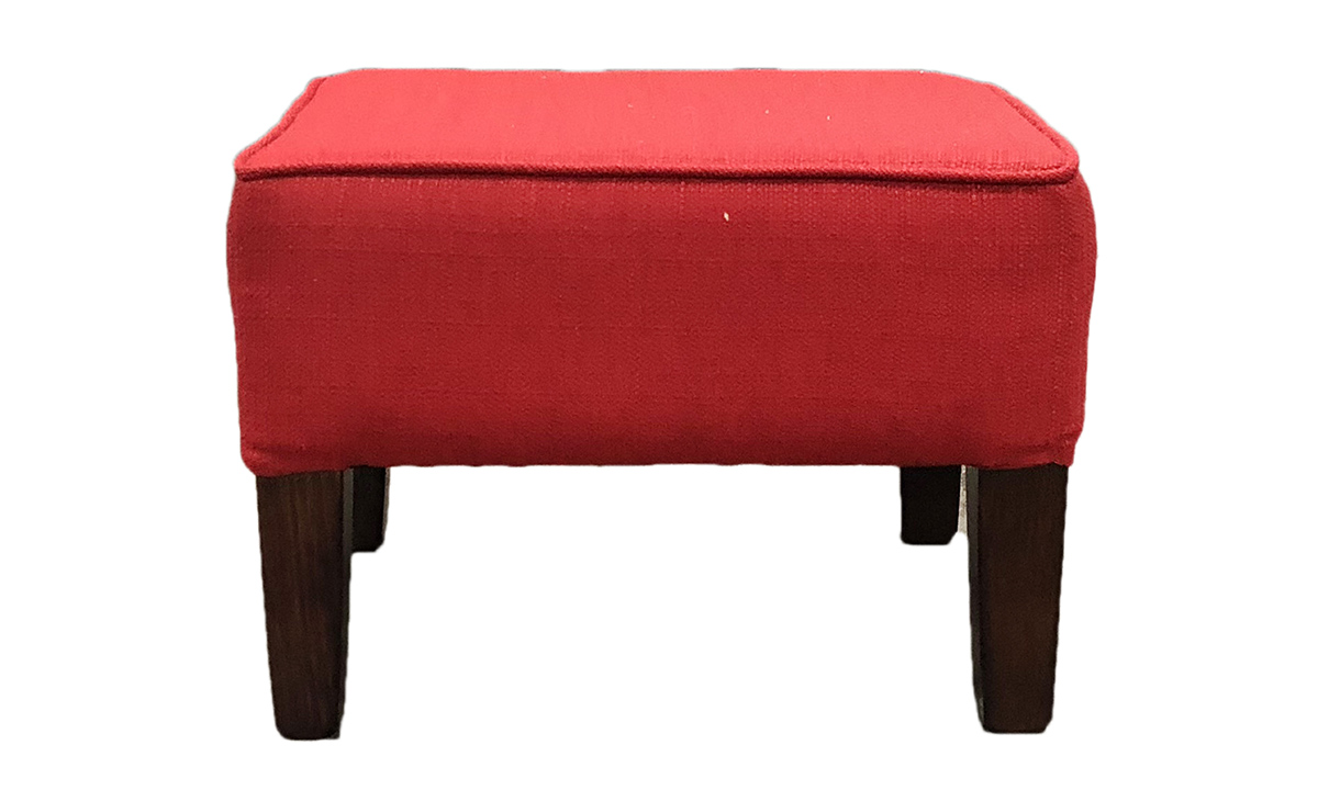 Harvard Footstool in Aosta Red, Silver Collection Fabric