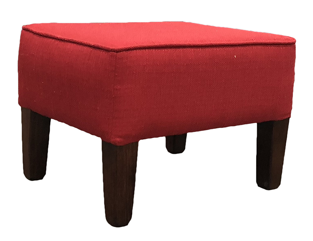 Harvard Footstool  in Aosta Red Silver Collection Fabric