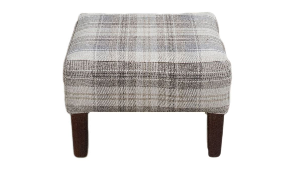 Harvard Footstool in Aviemore Plaid Linen, Silver Collection Fabric