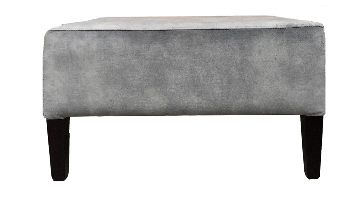 Bespoke Harvard Footstool in Lovely Slate, Gold Collection Fabric