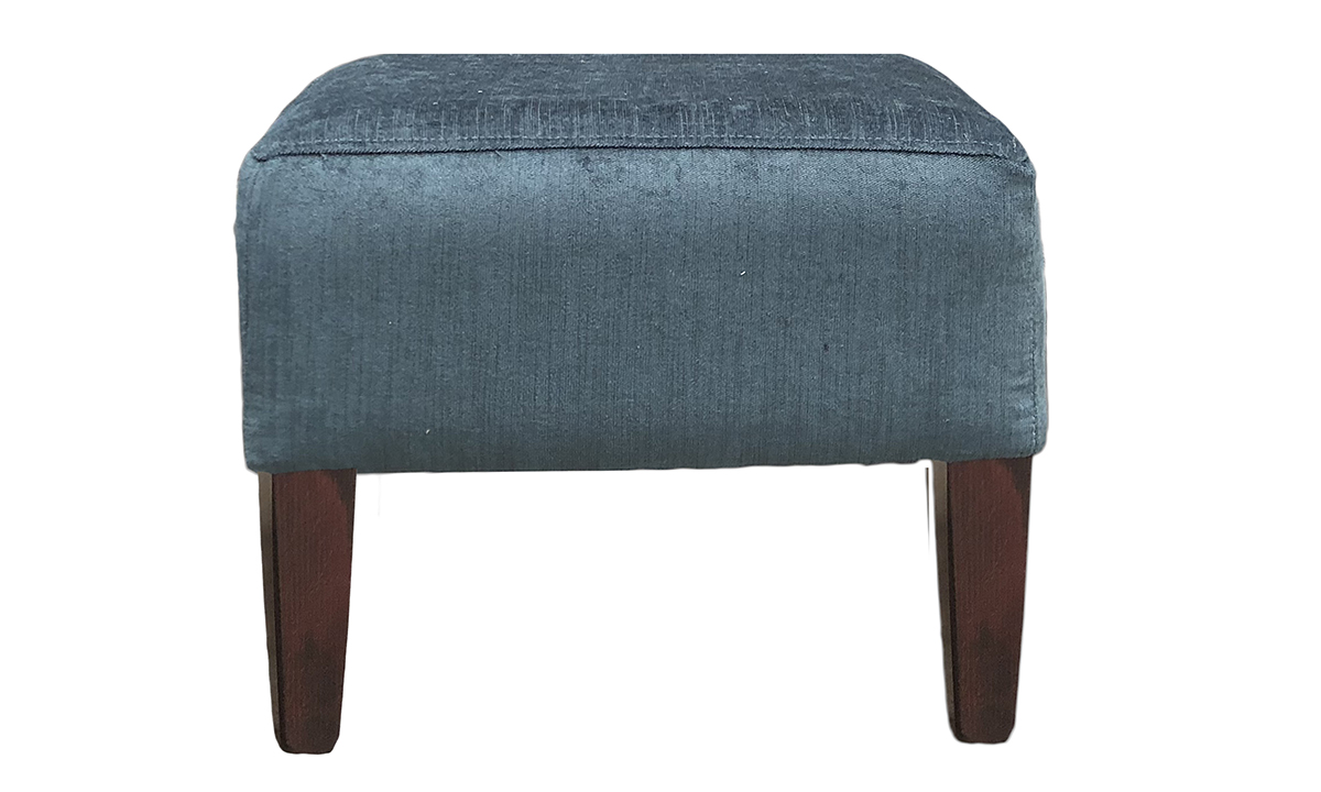 Harvard Footstool in Edinburgh Petrol, Silver Collection Fabric