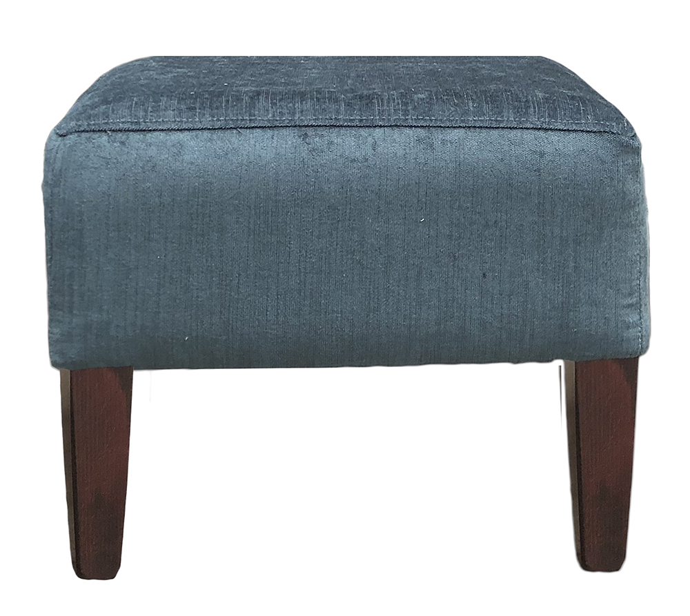 Harvard Footstool in Edinburgh Petrol Silver Collection Fabric