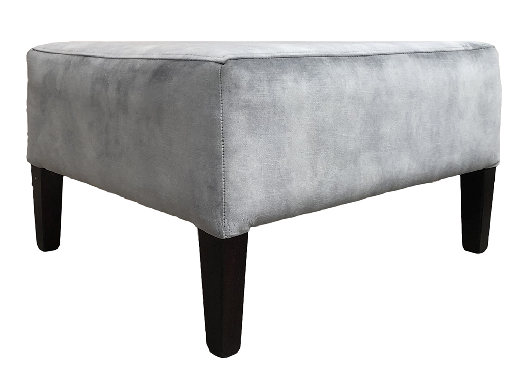 Harvard Footstool in Lovely Slate Gold Collection Fabric