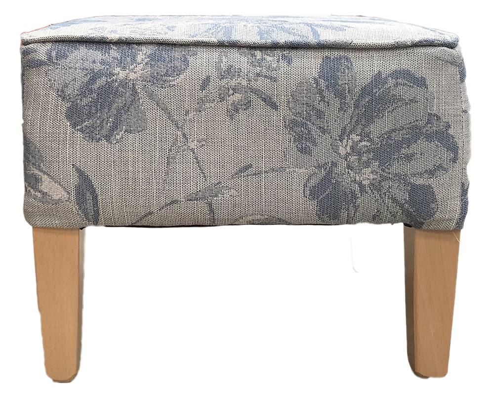 Harvard Footstool in Varadi Pattern Blue Bronze Collection