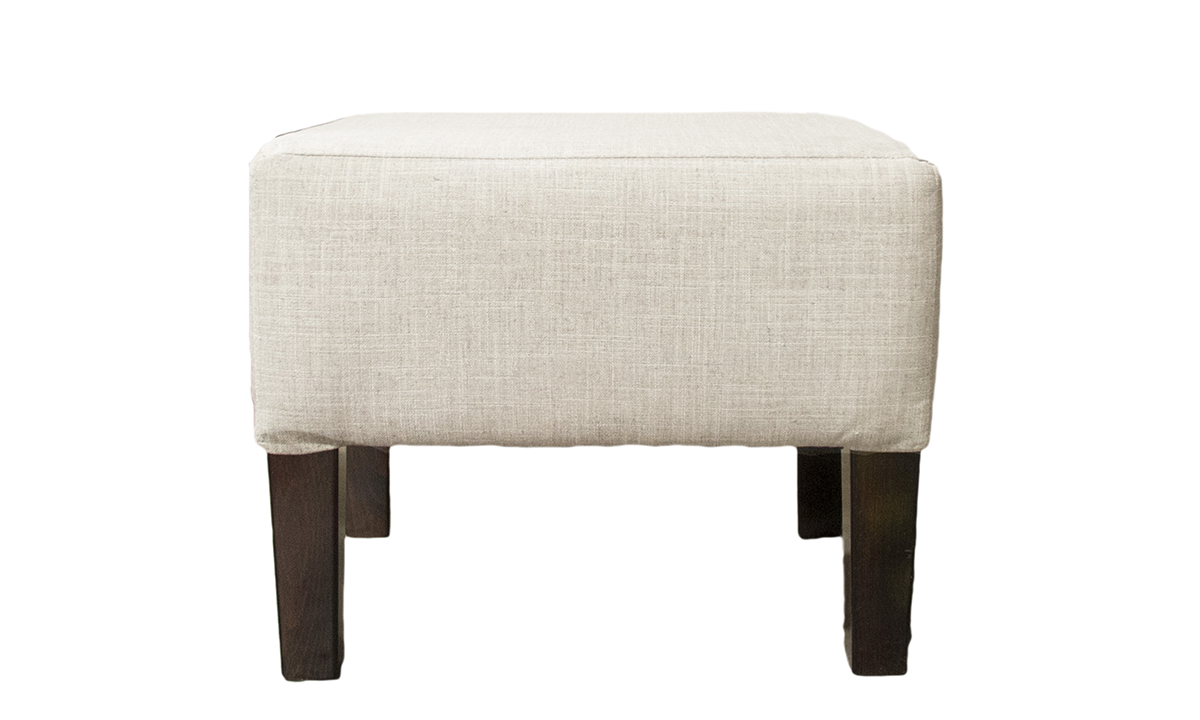 Harvard Footstool in Havana Sand, Silver Collection Fabric