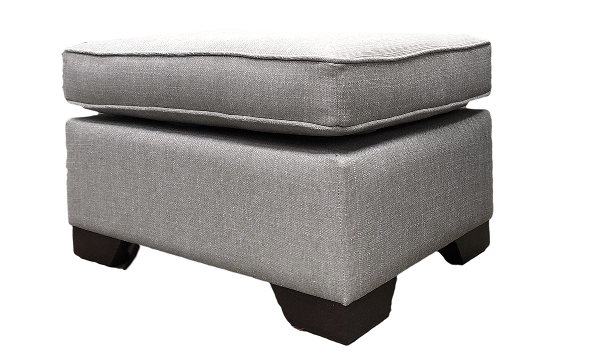 Imperial Footstool in Aosta Silver, Silver Collection Fabric