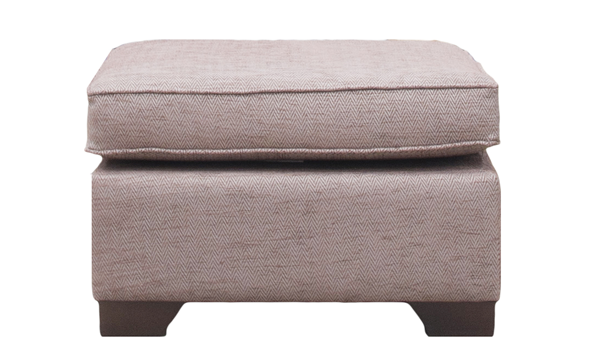 Imperial Footstool in Lenora Grape, Silver Collection Fabric