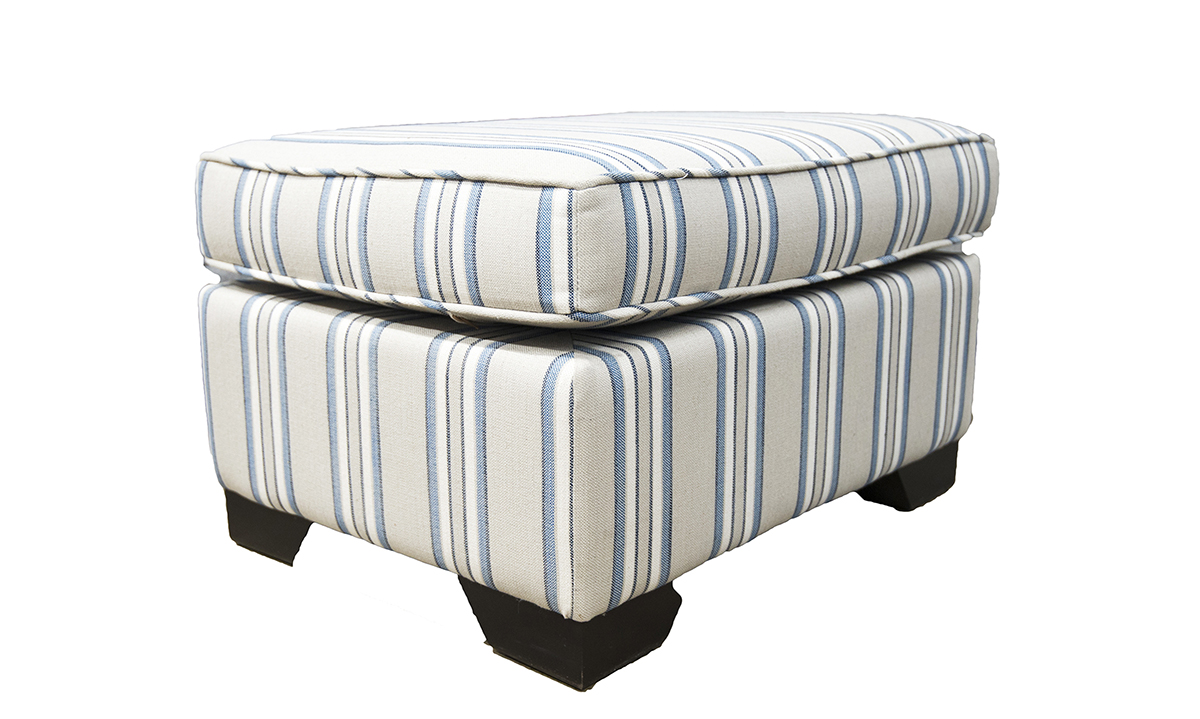 Imperial Footstool in Volkan Stripe Nordic Blue Silver Collection-Fabric-