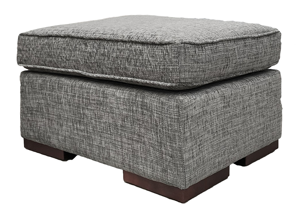 Leon Footstool  in Corrine Charcoal Bronze Collection Fabric