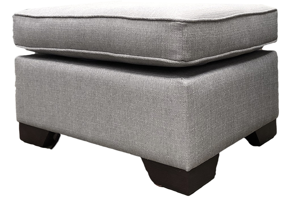 Othello Footstool  in Aosta Silver Silver Collection Fabric