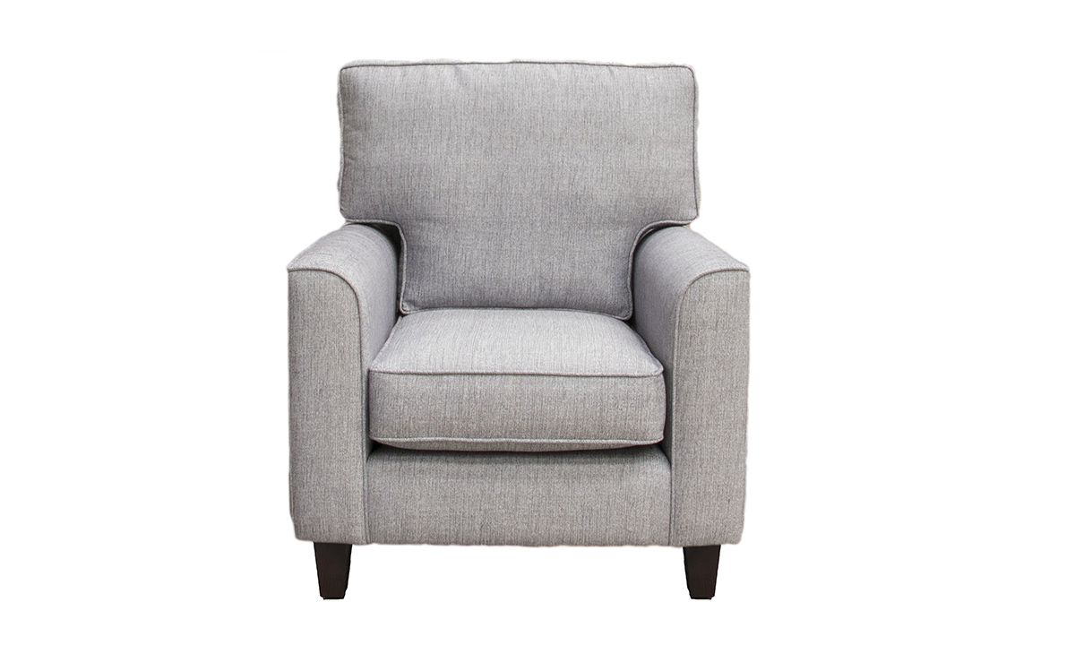 Leon Chair in Spencer Steel, Silver Collection Fabric