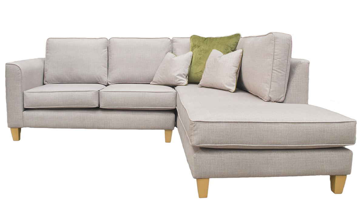 Bespoke Logan Corner Chaise Sofa in Havana Sage Silver Collection Fabric