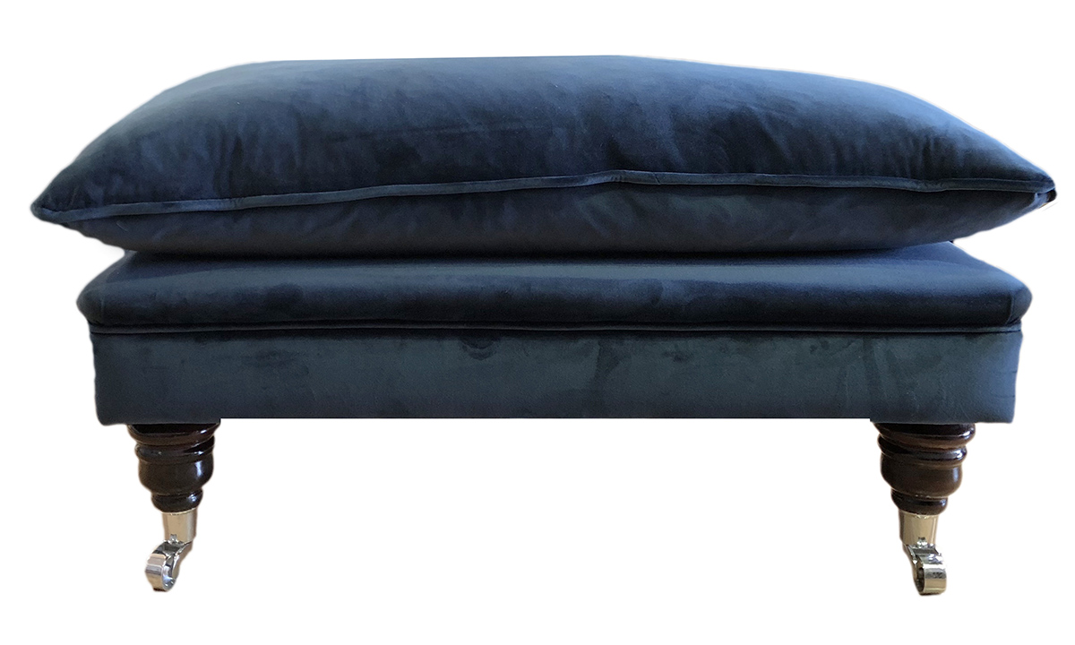 Holmes Footstool in Luxor Pacific, Silver Collection Fabric