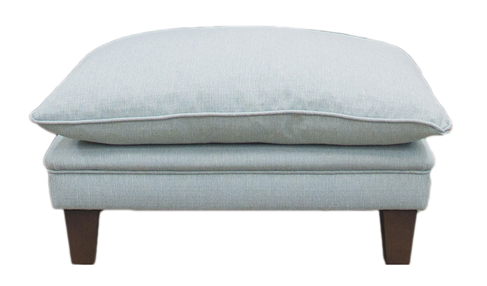 Holmes Footstool in Aosta Duck Egg Silver Collection Fabric