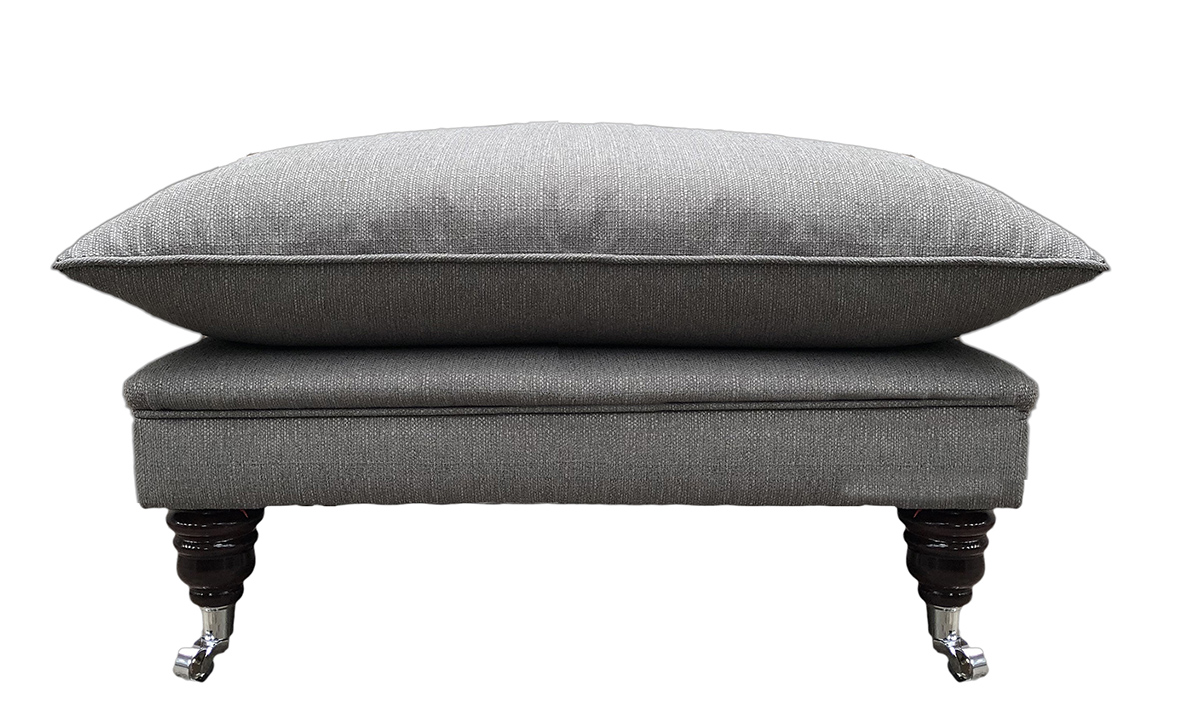 Holmes Footstool in  Aosta Grey, Silver Collection Fabric