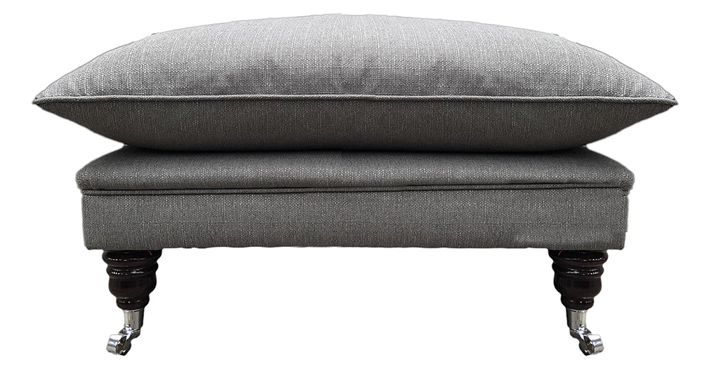 Holmes Footstool in Aosta Grey Silver Collection Fabric