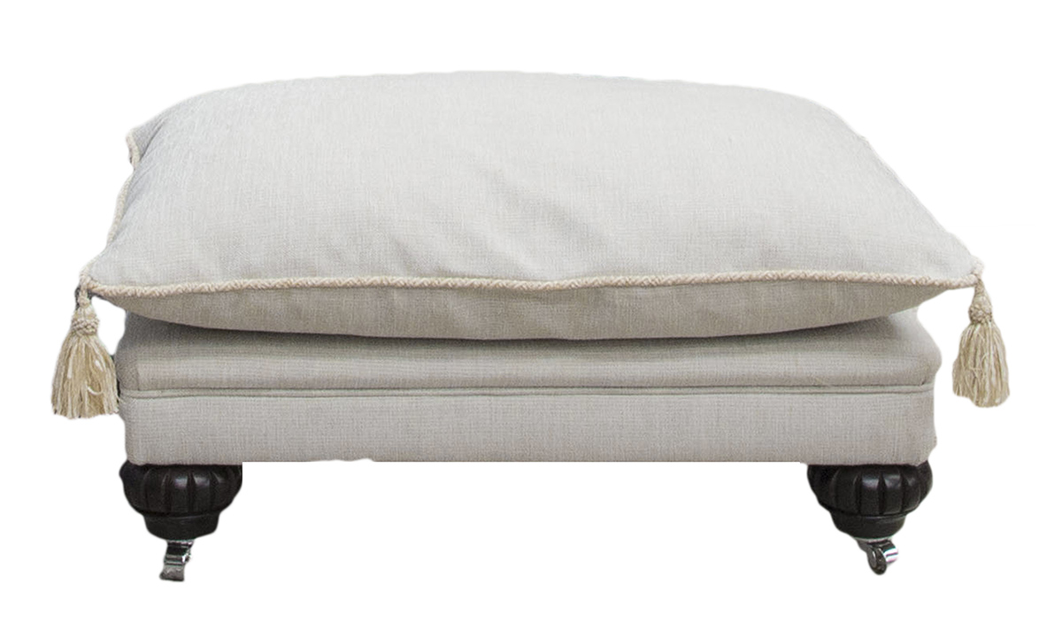 La Scala Footstool in Balamir Plain Ice, Silver Collection Fabric