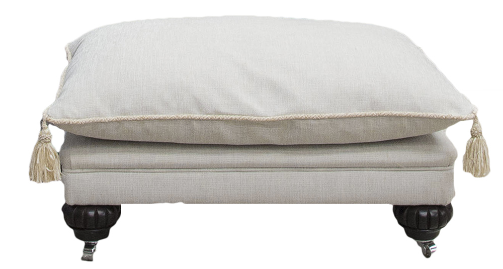 La Scala Side Footstool in Balamir Plain Ice Silver Collection Fabric