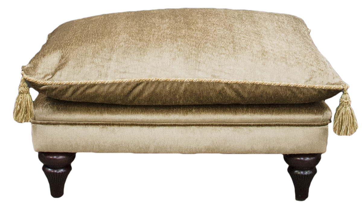 La Scala Footstool in Kadife Plain Gold