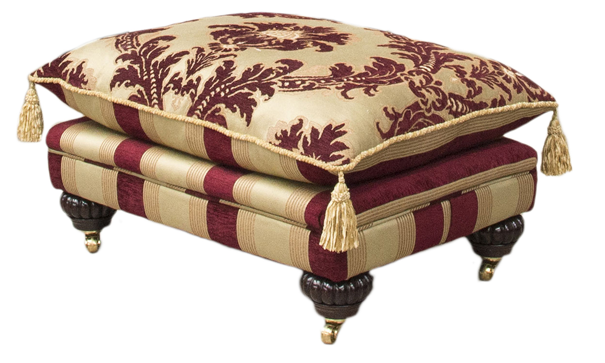 La Scala Footstool in Pendragon Merlot, Platinum Collection Fabric