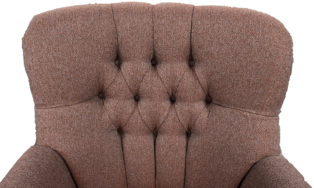 Deep Button Matisse Chair button in Porto Cranberry Silver Collection Fabric