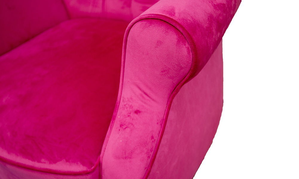 Matisse Deep Button Chair in Luxor Cerise, Silver Collection Fabric